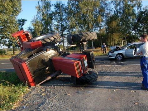 Traktorunfall Rödermark umgekippter Traktor