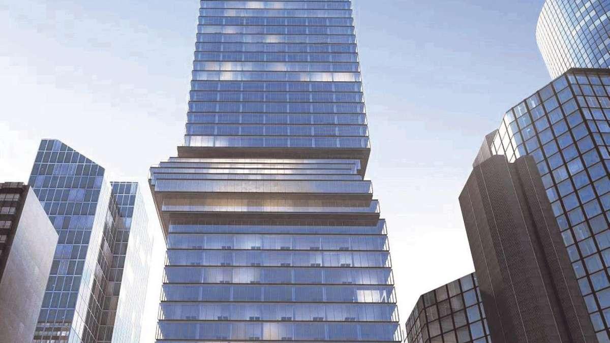 hochhaus mit h ftschwung 185 meter hoher turm f r. Black Bedroom Furniture Sets. Home Design Ideas