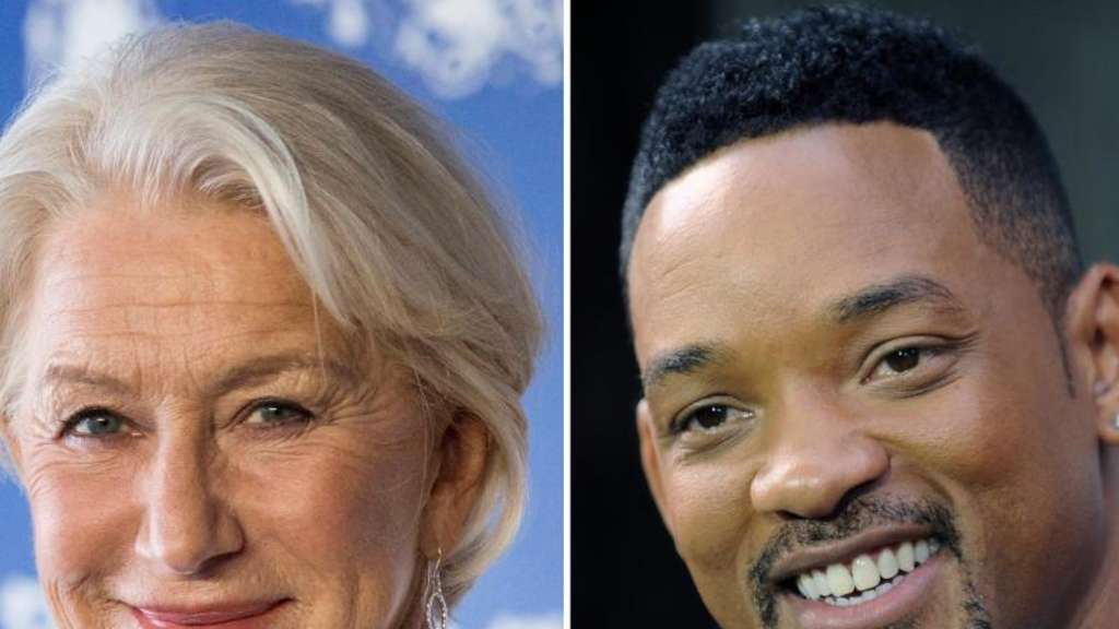 Helen Mirren und Will Smith machen gemeinsame Sache. Fotos: Etienne Laurent/Peter Foley Foto: Etienne Laurent/Peter Foley