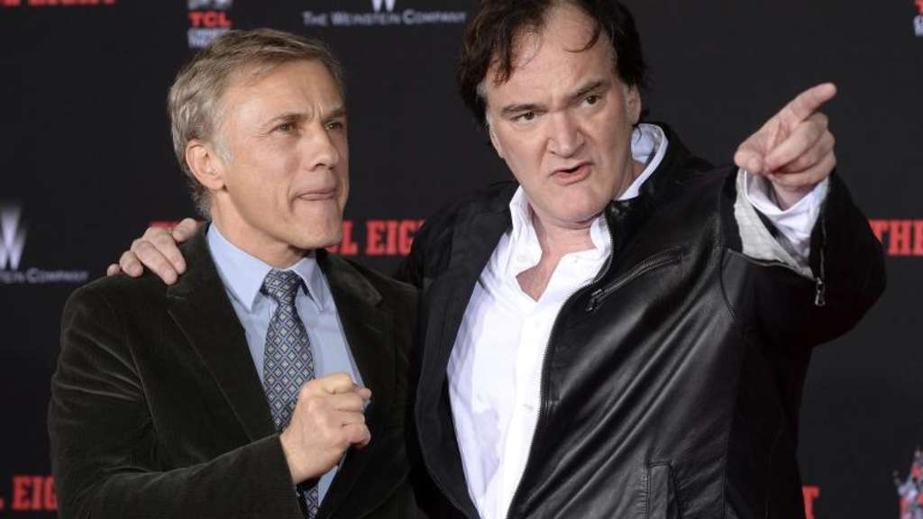 Quentin Tarantino (r.) mit Christoph Waltz bei der Zeremonie in Hollywood. Foto: MIke Nelson