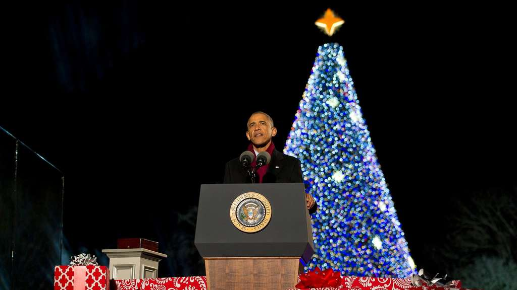 US President Barack Obama attends the National Christmas Tree Lig